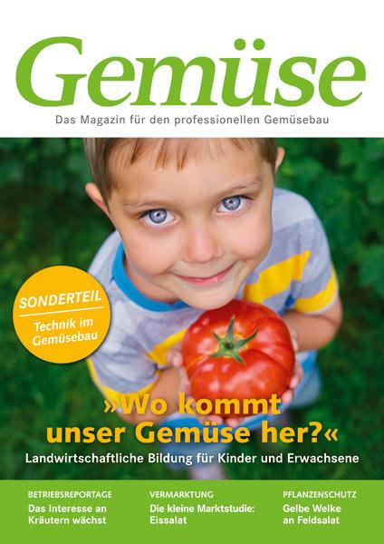 Titelbild der Zeitschrift Gemuese, ein kleiner Junge, hält 1 Tomate in den Händen
